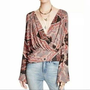 Free People Paisley Fiona Surplice Bell Sleeve Top